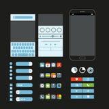 Verschillende grafische geplaatste elementen Moderne smartphoneinterface Royalty-vrije Stock Afbeelding