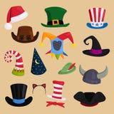 Verschillende grappige hoeden voor partij, vakantie en maskeradevector Stock Foto