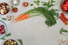 Verschillende groenten en paddestoelen Stock Afbeelding