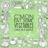 Verschillende groententekeningen Stock Foto