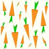 Verschillende grootte oranje wortelen Naadloos geïsoleerd retro patroon op lichte achtergrond Vector illustratie Royalty-vrije Stock Afbeelding