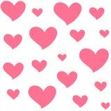 Verschillende grootte roze harten Geïsoleerd naadloos patroon op witte achtergrond Symbool van liefde en Romaans Royalty-vrije Stock Fotografie