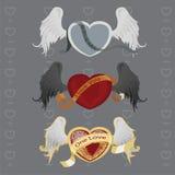 3 verschillende harten met vleugels Royalty-vrije Stock Fotografie