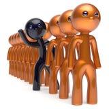 Verschillende het karakter zwarte tribune van de mensenmens uit van de menigte Royalty-vrije Stock Fotografie