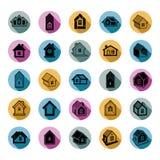 Verschillende huizenpictogrammen voor gebruik in grafisch ontwerp, reeks van herenhuis royalty-vrije illustratie
