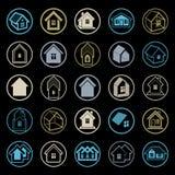 Verschillende huizenpictogrammen voor gebruik in grafisch ontwerp, reeks van herenhuis stock illustratie