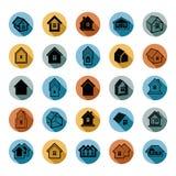 Verschillende huizenpictogrammen voor gebruik in grafisch ontwerp, reeks van herenhuis vector illustratie