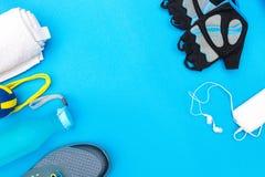 Verschillende hulpmiddelen en toebehoren voor sport Royalty-vrije Stock Foto