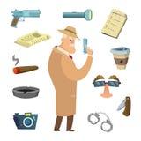 Verschillende hulpmiddelen voor detective Vectorpictogrammen in beeldverhaalstijl stock illustratie