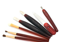 Verschillende hulpmiddelen voor samenstelling en manicure Royalty-vrije Stock Foto's