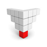 Verschillende individuele leiders rode kubus van piramidegroep Stock Afbeelding
