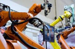 Verschillende industriële robotwapens royalty-vrije stock afbeelding