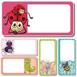 Verschillende insecten op vierkante etiketten Stock Foto