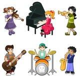 Verschillende jonge geitjes die muzikaal instrument spelen Royalty-vrije Stock Afbeeldingen