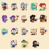 Verschillende karakters voor spelzombi, skelet, strijders, monstors, mages sprites Vector vlakke illustraties Stock Afbeelding