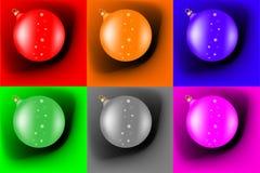Verschillende Kerstmisballen Stock Afbeelding