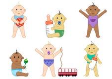 Verschillende kinderen met speelgoed, babyreeks, illustratie stock illustratie