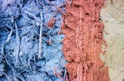 Verschillende kleur van klei en zandmixure met riet royalty-vrije stock foto