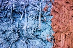 Verschillende kleur van klei en zandmixure met riet royalty-vrije stock fotografie