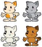 Verschillende kleuren van beeldverhaal de kleine honden Stock Foto