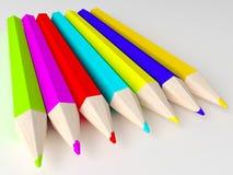 Verschillende kleurenpotloden Royalty-vrije Stock Foto's