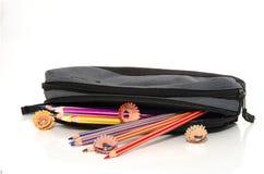 Verschillende kleurenpotloden in een potloodgeval Royalty-vrije Stock Foto