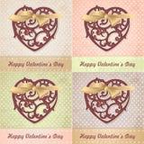 Verschillende kleurenreeks van uitstekende Valentijnskaartenkaart Royalty-vrije Stock Foto's