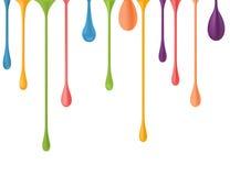 Verschillende kleurrijke dalingen Vector 3d illustratie vector van verf de dalende druppels het nagellak laat vallen val Regenboo Stock Afbeeldingen