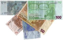 Verschillende kleurrijke geïsoleerdee euro, besparingenrijkdom Stock Afbeeldingen