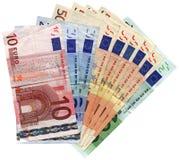 Verschillende kleurrijke geïsoleerdee euro, besparingenrijkdom, Royalty-vrije Stock Foto