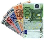 Verschillende kleurrijke geïsoleerdet euro, besparingenrijkdom Stock Afbeeldingen