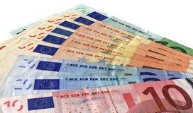 Verschillende kleurrijke geïsoleerdeb euro, besparingenrijkdom Royalty-vrije Stock Foto