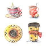 Verschillende koppen van koffie, Royalty-vrije Stock Foto's