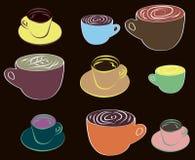 Verschillende koppen van koffie Stock Afbeeldingen
