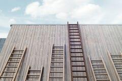 Verschillende ladders naast houten heldere de bouwmuur, het 3d teruggeven stock illustratie