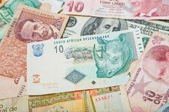 Verschillende landen Zuidafrikaanse Rand in het midden royalty-vrije stock foto's