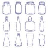Verschillende lege containers Stock Foto's