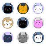 Verschillende leuke kleurrijke kattengezichten in de stijl Vectorillustratie van het cirkelsbeeldverhaal Royalty-vrije Stock Fotografie