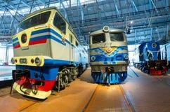 Verschillende locomotieven van tijden van de USSR Rusland Heilige-Petersburg Museumspoorwegen van Rusland 21 December, 2017 Stock Foto's
