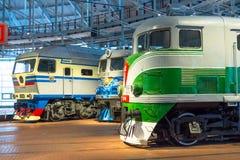 Verschillende locomotieven van tijden van de USSR Rusland Heilige-Petersburg Museumspoorwegen van Rusland 21 December, 2017 Royalty-vrije Stock Afbeelding