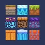 Verschillende Materialen en Texturen voor het Spel stock illustratie