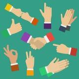 Verschillende menselijke handen Minimale vlakke vectorillustratie van diverse posities van handen Handen die verschillende gebare Stock Afbeelding