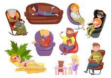 Verschillende mensen die en op verschillende stoelen, de sedentaire vectorillustraties van het levensstijlbeeldverhaal zitten lig stock illustratie