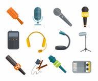 Verschillende microfoonstypes vectorpictogrammen Stock Foto