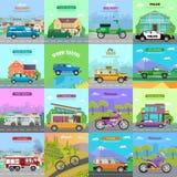 Verschillende middelen van vervoer Auto pictogrammen Royalty-vrije Stock Afbeelding