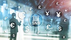 Verschillende munten op het virtueel scherm SNB Zwitsers National Bank stock fotografie