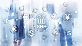 Verschillende munten op het virtueel scherm SNB Zwitsers National Bank stock illustratie