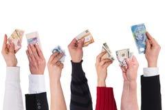 Verschillende muntenconcept globale financiering Stock Foto's
