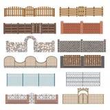 Verschillende ontwerpen van omheiningen en poorten  Stock Foto