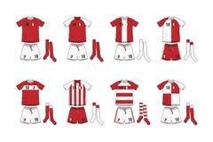 Verschillende Ontwerpen van Voetbaluitrustingen Stock Afbeelding